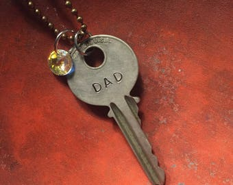Key Necklace - hand stamped - DAD
