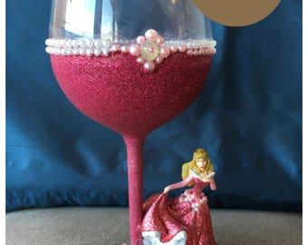 Disney's Sleeping Beauty Glitter Wine Glass