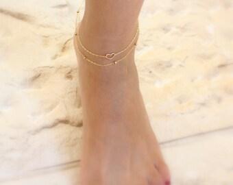 Gold anklets - Set of 2 gold ankle bracelets, Super Sweet Anklet, Heart Anklet, Gold Heart Anklet