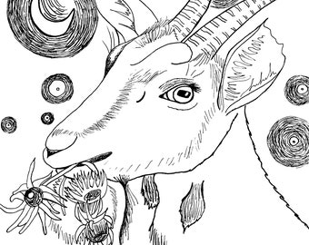 """Instant download Vincent Van""""Goat"""" COLORING PAGE for all ages"""
