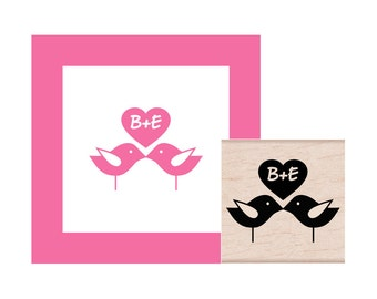 Love Birds Personalized with Initials Rubber Stamp