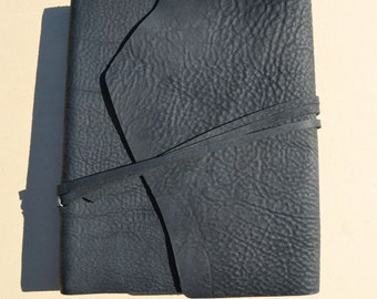 Black Leather Journal Cookbook Lined Personal Diary Handmade Travel Notebook (596B)