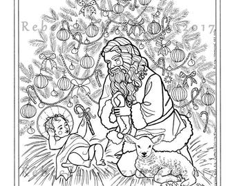 kneeling santa coloring page christmas tree saint nicholas christ child baby jesus