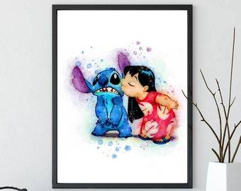 Stitch Disney Lilo and Stitch Watercolor stitch Art stitch Print, disney decor, Watercolor nursery Print, disney art, stitch wall art