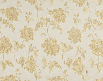 Gold and Champagne Large Scale Flowers and Leaves Damask Brocade Upholstery Fabric By The Yard | Pattern # B0720B