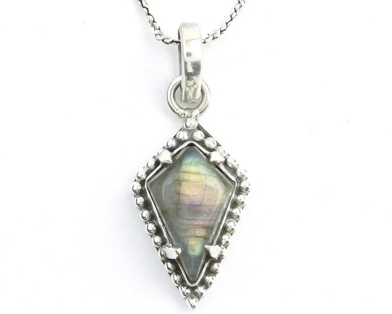 Lover's Coffin Sterling Silver Necklace, Labradorite Jewelry, Gemstone, Meditation, Spiritual, Boho, Gypsy, Festival