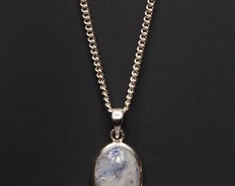 Moonstone necklace for Men - Moonstone pendant for men - moonstone silver necklace for men - mens jewelry - mens necklace - necklace for men