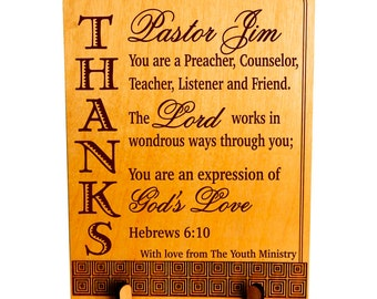 Unique Keepsake Gift for Pastor, Youth Pastor Minister Gift from Youth Ministry, Custom Thank You Pastor Christian Appreciation, PLP041