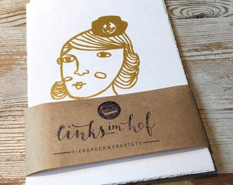 Screen printing Postcards 5-pack with Sailor motifs (gold)