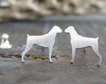 Boxer post earrings. Small dog silhouette jewelry. Tiny Sterling silver, 14k gold filled or solid gold studs. Gift for animal lover.