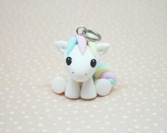 Marshmallow pony horse polymer clay charm - stitch marker - necklace