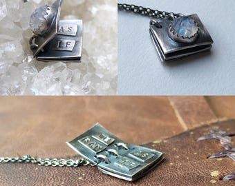 Tiny Book Necklace - Handcrafted Jewelry-Notebook Necklace - Crystal Necklace - Healing Jewelry - Gemstone Jewelry