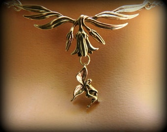 Sterling silver fairy necklace, Sterling silver Lilly necklace, wedding necklace, floral necklace, faeries