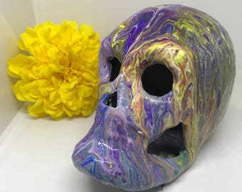 Skull Decor, Skull, Skulls, Sugar Skull, Day of the Dead, Abstract Art Skull, Resin Art Skull, Gifts for Him, Gifts for Her, Unique Mom Gift