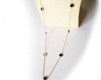 Long necklace 80cm titanium disc black and nacre natural white hypoallergenic for sensitive skin