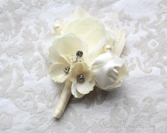 Ivory Floral Boutonniere/ Handmade Wedding Accessory