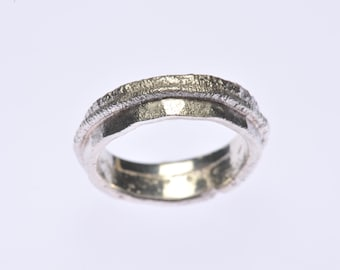 OOAK, fused, reticulated silver ring