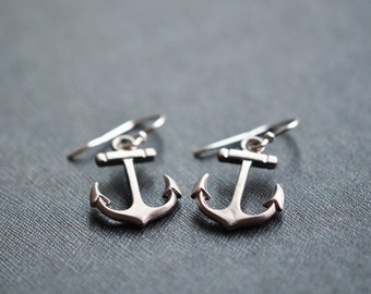 Anchor Earrings - Silver Anchor Earrings  - Nautical Anchor Earrings - Summe Jewelry - Aldari Jewelry Designs