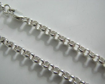 40 inch Rolo Chain 4mm Links Sterling Silver with Lobster Clasp Long Necklace