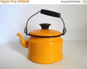 Sale - Mid Century School Bus Yellow Enamelware Tea Kettle