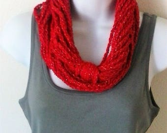 Chain Scarf - Infinity Scarf - Necklace Scarf - Circle Scarf - Red and Gold Metallic Scarf - Red Holiday Scarf - Valentine Scarf