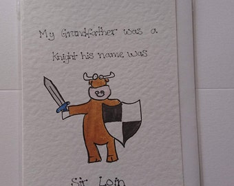 Sir Loin Hand-drawn Greeting Cards - Animal | Cow | farming | meat-lover | watercolour | play-on-words | funny | medieval | Cheesy