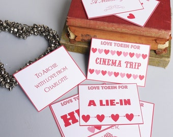 Love Token Cards // Paper Anniversary // First Anniversary // 1st Anniversary // Husband Gift // Wife Gift // Love Coupons // Token Gift //