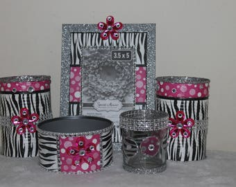 Diva Blinged Out Zebra Print Vanity Makeup Set;Vanity Decor;Desk Decor;Home