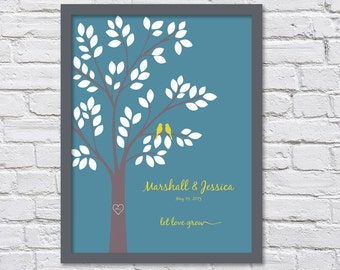 Let Love Grow, Anniversary Gift Tree/Wedding Gift Tree/Two Birds -  8x10, 9x12, 11x14, and 12x16