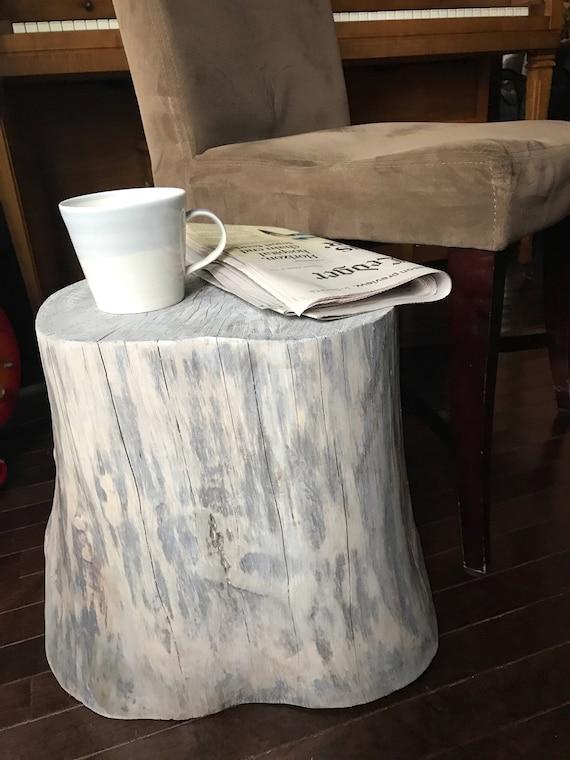 Tree Stump Table Side Table White Wood Table - White tree stump side table
