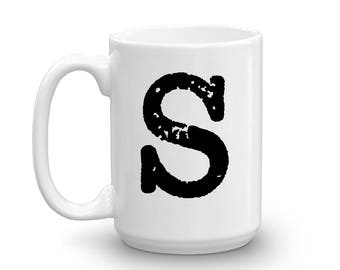 Initial Mug - Letter S - 15oz Ceramic Cup - Dad Gift Mug - Right-Handed or Left-Handed Mug