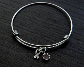 Breast Cancer Awareness Bracelet / Survivor / Pink Ribbon / Cancer Awareness Bangle / Hand Stamped Wire Bangle Bracelet