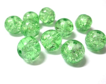 10 green Crackle Glass 10mm (S-3) beads
