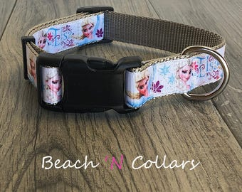 Elsa Inspired Princess Dog Collar  | Custom Dog Collar, Adjustable Dog Collar, Pet Accessory, Medium Dog or Large Dog, Girl Dog, Frozen