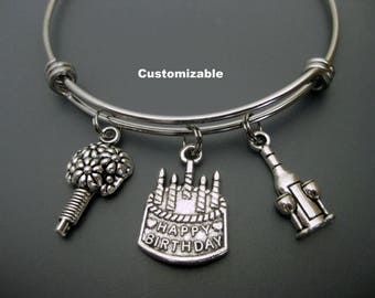 Birthday Bracelet /  Birthday Bangle / Gift for Birthday / Happy Birthday Charm Bracelet / Gift for Friend / Gift For Mom / Birthday Cake