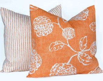Orange Pillow Covers, 24 x 24 , Fall Pillow Covers, Orange Shams, Decorative Throw Pillow Covers, Orange Floral and Stripe