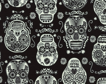 Three (3) Yards - Glow in the Dark Folklore Sugar Skulls Fabric Timeless Treasures Fun-CG3366-Black