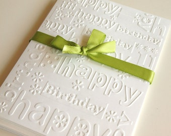 Happy Birthday White Embossed Greeting Cards - Note Card Set of 5 - A2 Size