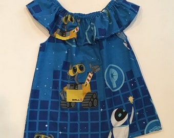 Girls size 10 upcycled wall-e and eve off the shoulder shirt - disney top - repurposed - eco friendly - disney bound -