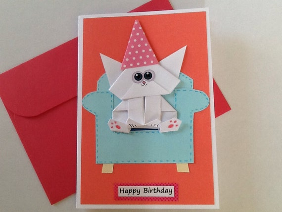 Cat birthday card origami cat funny cat card pop up card bookmarktalkfo Choice Image