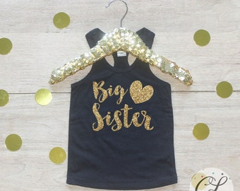 Big Sister Tank / Baby Girl Clothes Big Sister Outfit Matching Little Sister Sibling Set Toddler Girl Pregnancy Announcement Baby Shower 02