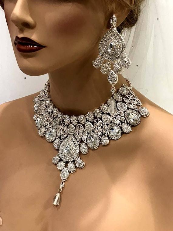 Wedding jewelry set Clear Crystal bridal bib necklace