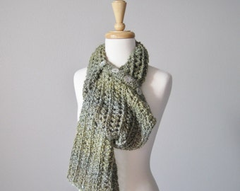 Chunky Button Up Scarf in Willow - Women's Knitted Cowl / Scarf - Autumn Scarf - Hand Knit, Wool Free Button Up Scarf  - THICKET