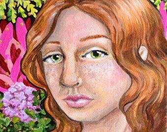 "Original Art -""Among Flora"" woodland floral portrait 6x9 inches by Amanda Christine Shelton"