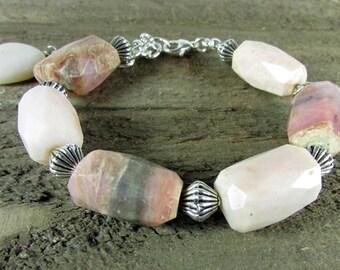Pink Opal Bracelet, Gemstone Bracelet, Large Bead Opal Bracelet
