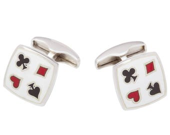 Sterling Silver Card Suit Cufflinks with Swivel