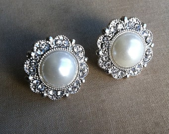 Bridesmaid earring, bridesmaid jewelry, Bridal Pearl earring ivory vintage rhinestone stud post FILIGREE SILVER wholesale