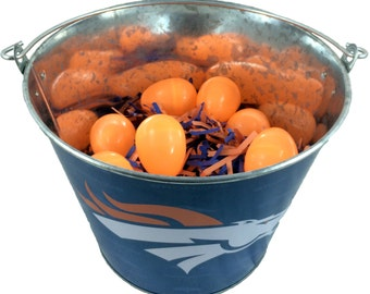 Denver Broncos Easter Basket NFL - with Eggs and Team Color Grass