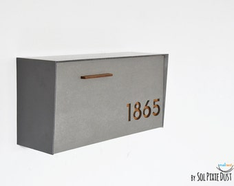 modern wall mount mailbox. Exellent Wall Modern Mailbox With Concrete Face Aluminum Body And Dark Oak Wood Vanish  Custom Mailbox Wall Mounted Mailnest Type 3 In Mount