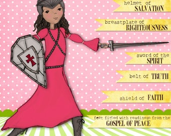 pink & lime green warrior girl scripture art print - girl's room art